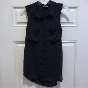 Button down sleeveless professional top